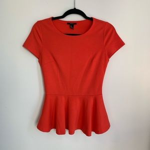 Forever 21 Coral Peplum Blouse